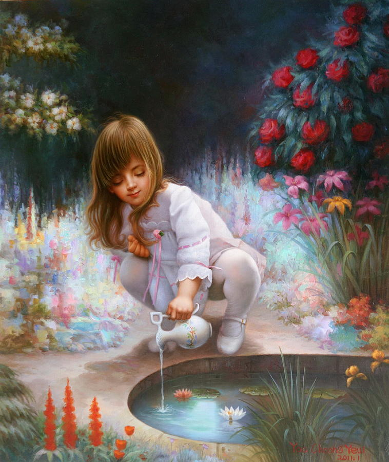 Pond Painting -  Pond And Girl by Yoo Choong Yeul