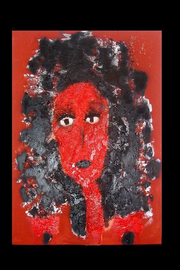 Symbolik Painting - -portraet In Rot- by Despina Papadopoulou