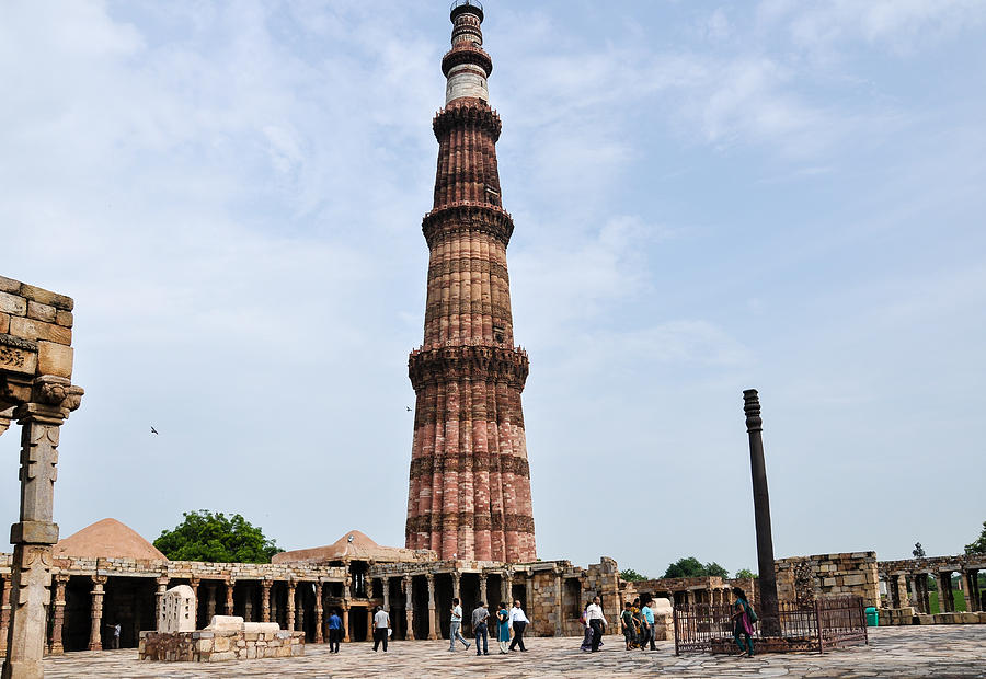 Ancient Photograph -  Qutub Minar in Delhi by Freepassenger By Ozzy CG
