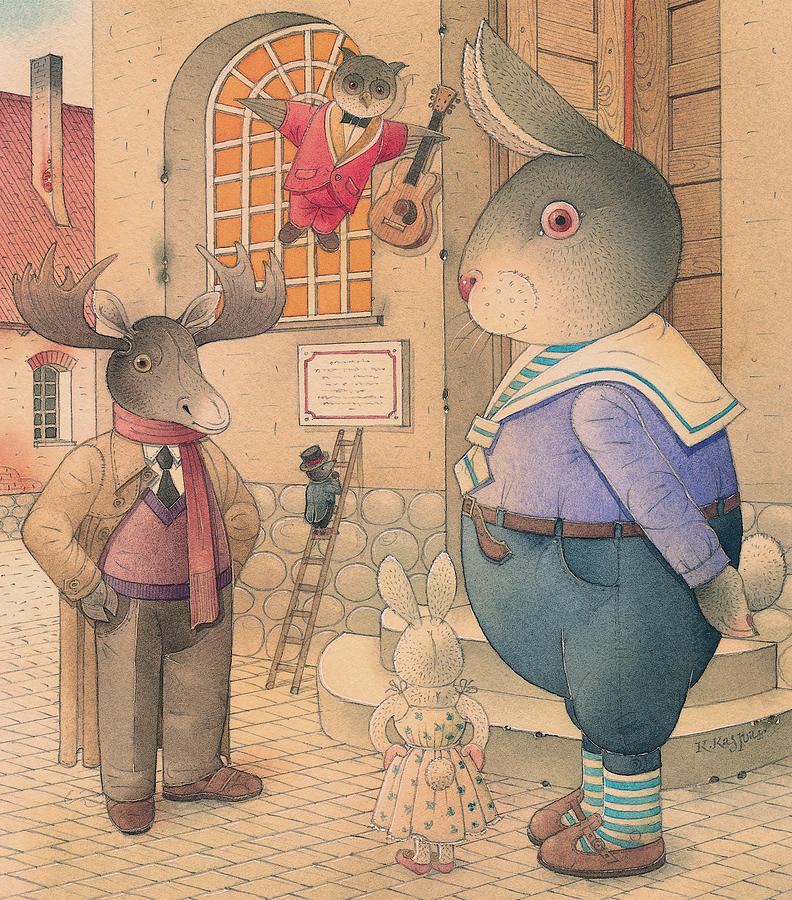 Party Evening Dance Rabbit Town  Painting -  Rabbit Marcus The Great 21 by Kestutis Kasparavicius