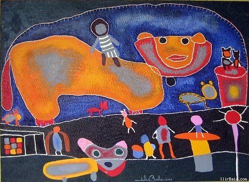 Village Painting -  Random Lifevillage 1. by Ilir   Bala