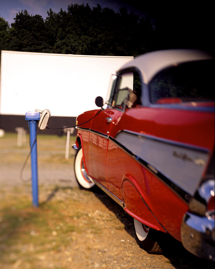 \'57 Photograph -  Red Chevy At The Drive-in by Robert Ponzoni