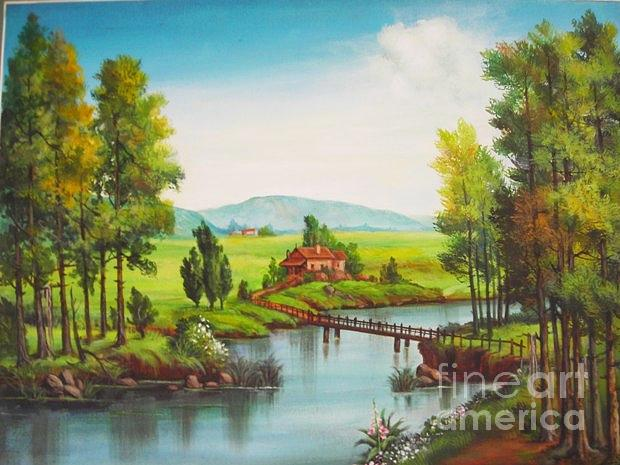 Landscape Painting -  River Crossing The Mountains And Country by Marimuthu Chinnathambi