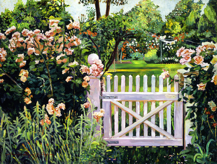 Roses At The Garden Gate Painting By David Lloyd Glover