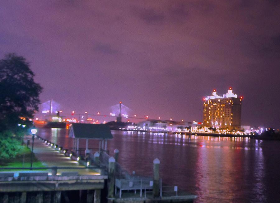 Savannah Digital Art -  Savannah Riverfront by Art Spectrum