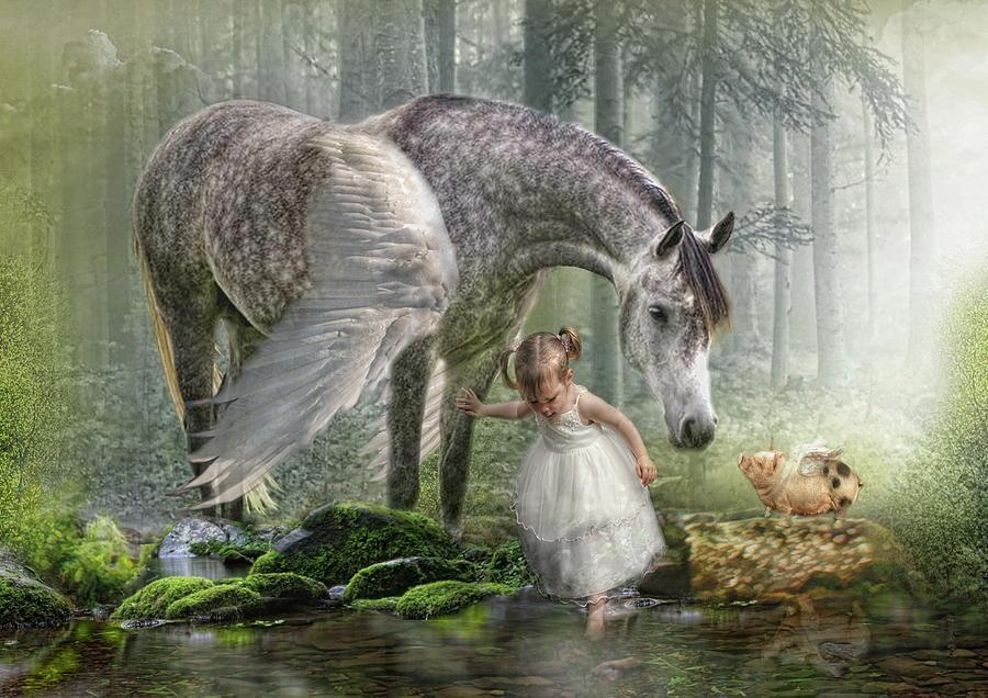 Horse Digital Art -  Special Friends by Trudi Simmonds
