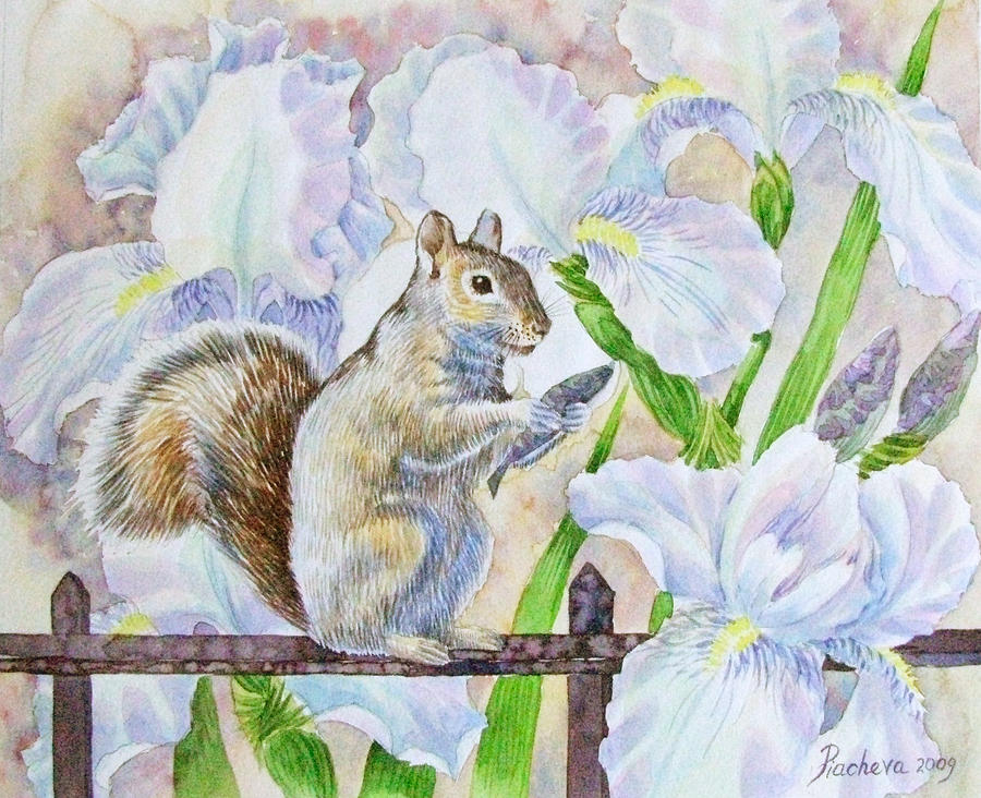 Squirrel And Flowers. Painting by Natalia Piacheva