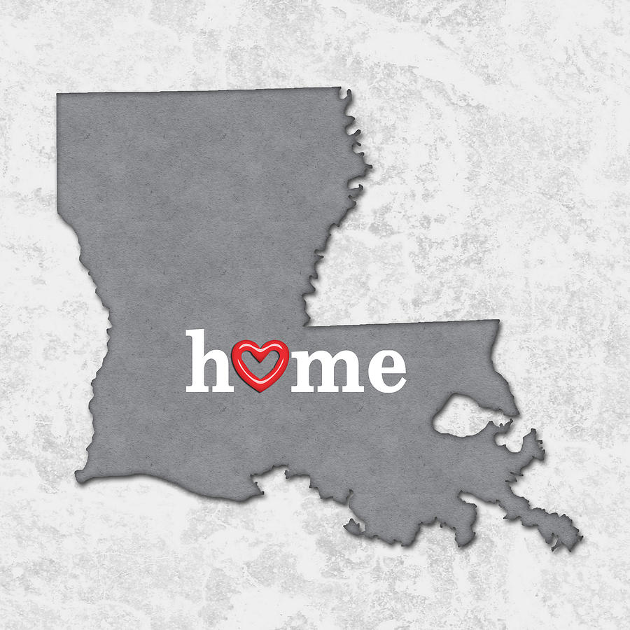 State Map Outline Louisiana With Heart In Home Painting by Elaine