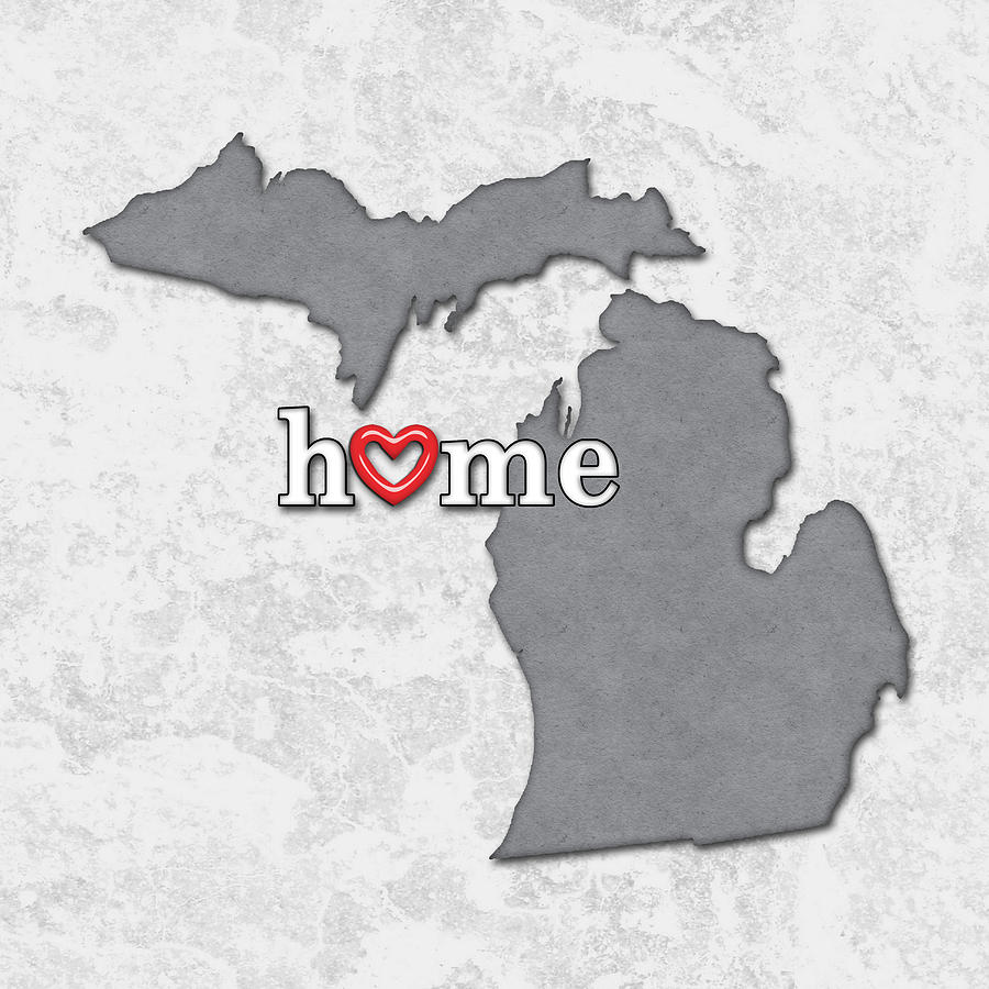 State Map Outline Michigan With Heart In Home Painting By Elaine