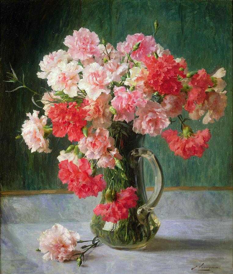 Still Painting -  Still Life Of Carnations   by Emile Vernon