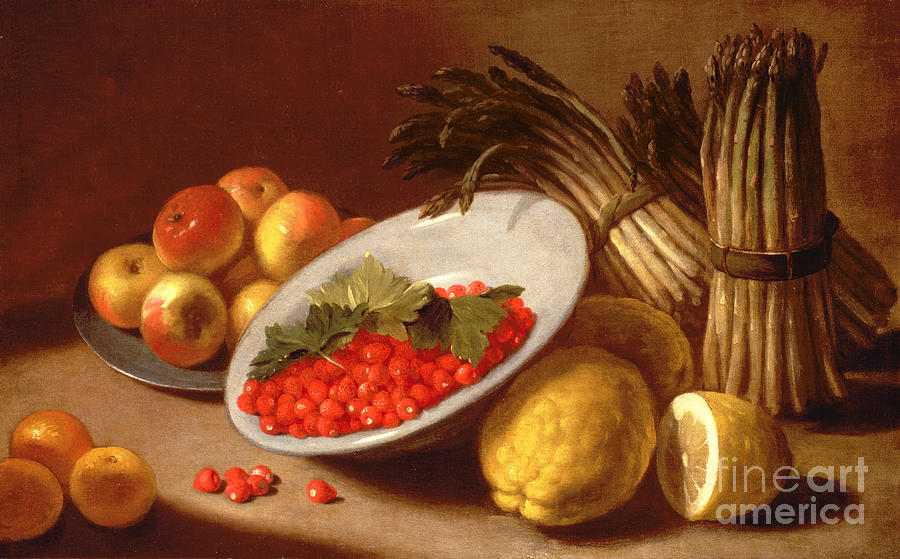 Still Painting -  Still Life Of Raspberries Lemons And Asparagus  by Italian School