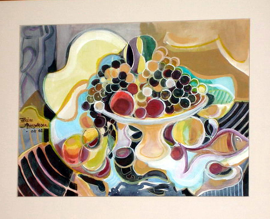 Contemporary Arts Painting -  Still Life With Fish And Fresh  Fruits by Therese AbouNader