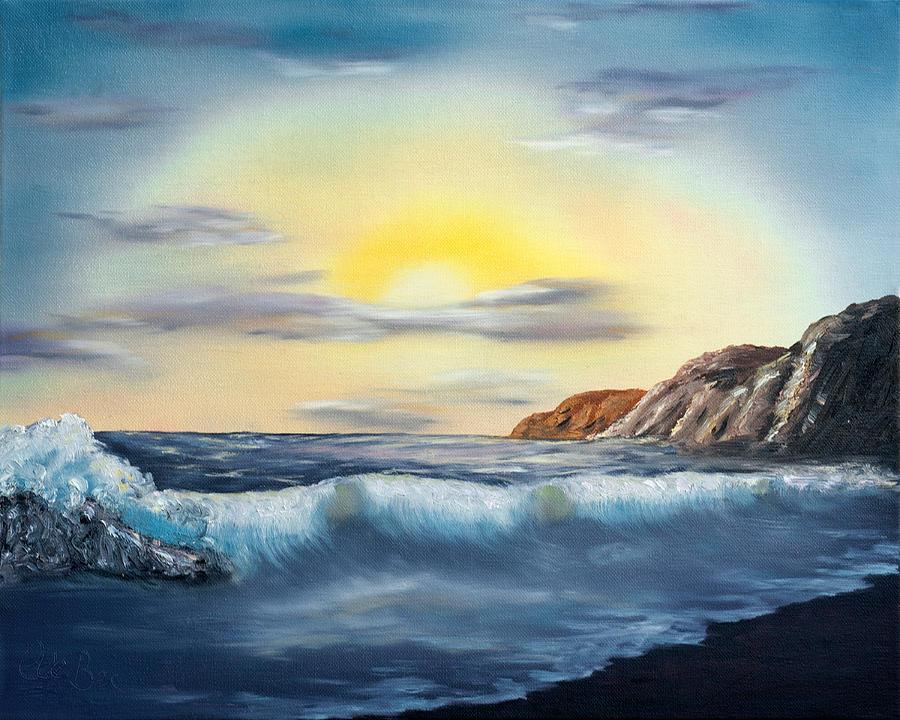 Sunset Painting -  Sunset Beach Pastel Splash by Claude Beaulac