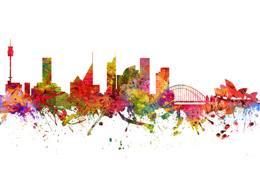 Sydney Drawing -  Sydney Australia Cityscape 08 by Aged Pixel