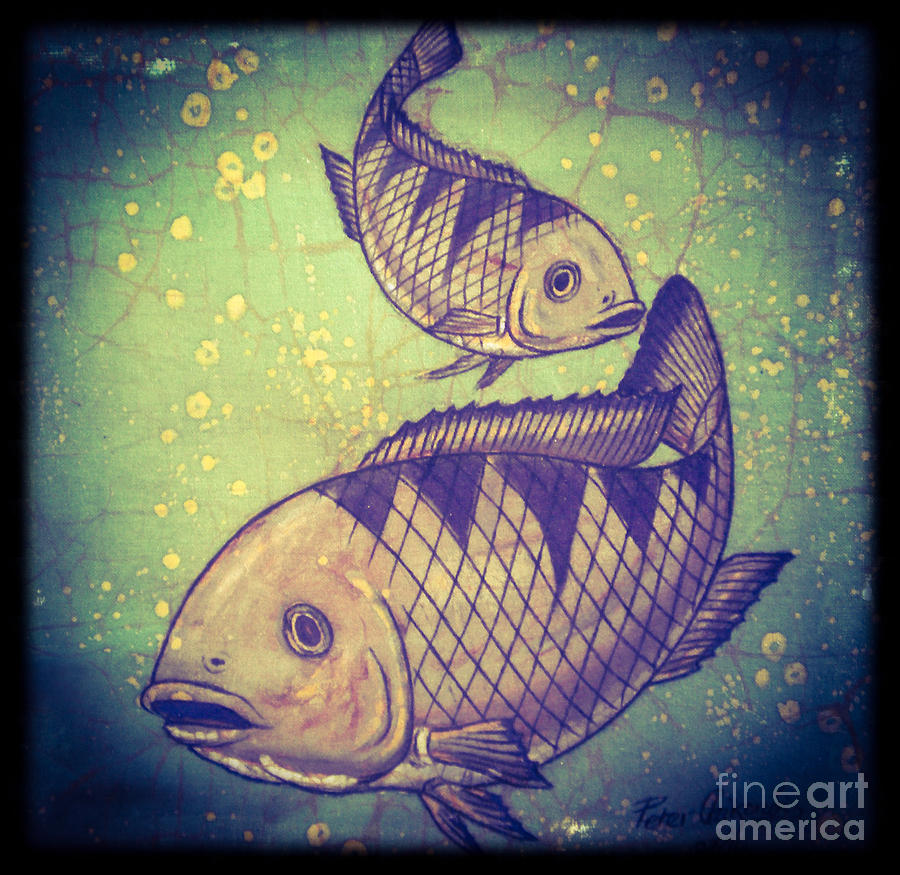 African Painting -  The  Cichlids Fish by Peter Chikwondi