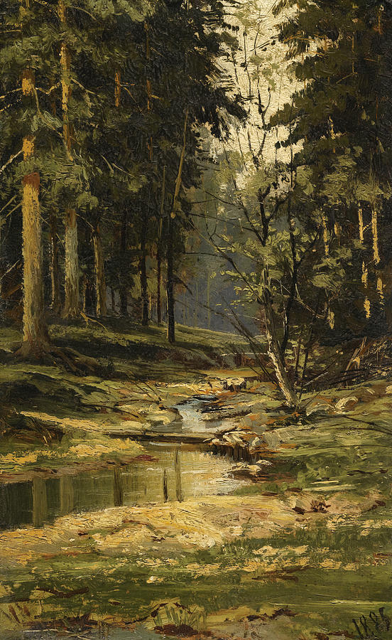 The Forest Brook Painting By Ivan Shishkin