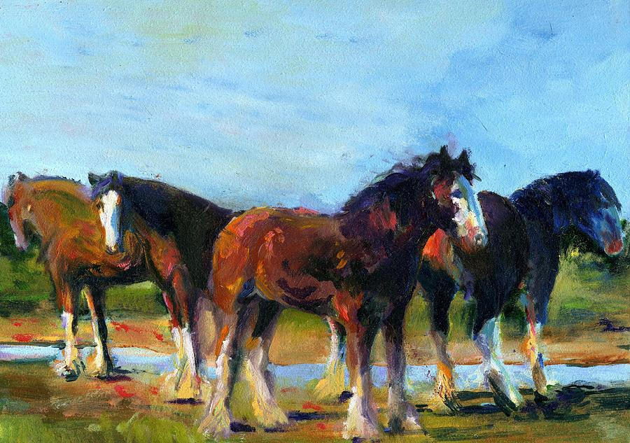 The Four Clydesdales  Painting by Kathy Dueker
