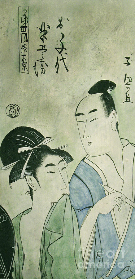 Japanese Painting Painting -  The Lovers Ochiyo And Handei  by Carrie Jackson