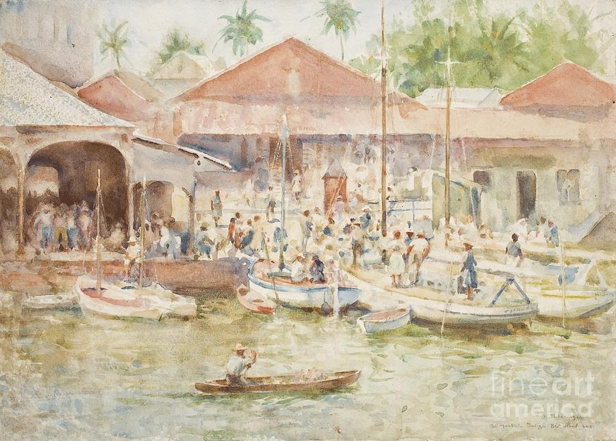 The Market Painting -  The Market Belize British Honduras by Henry Scott Tuke