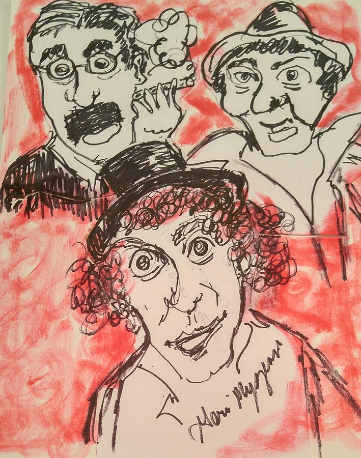 Comedy Painting -  The Marx Brothers by Geraldine Myszenski