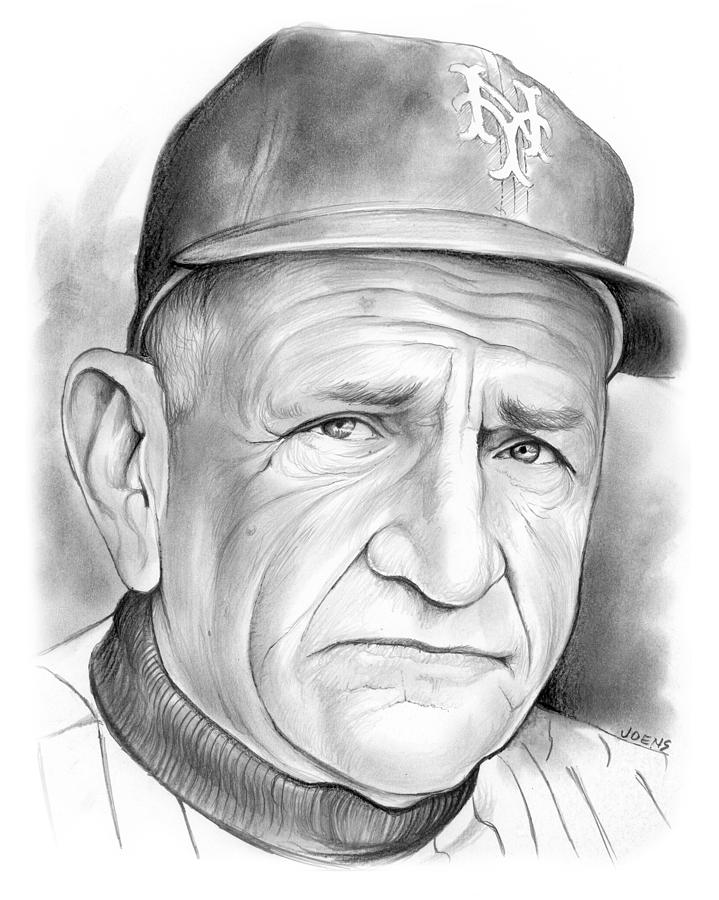 Baseball Drawing -   The Old Perfessor by Greg Joens