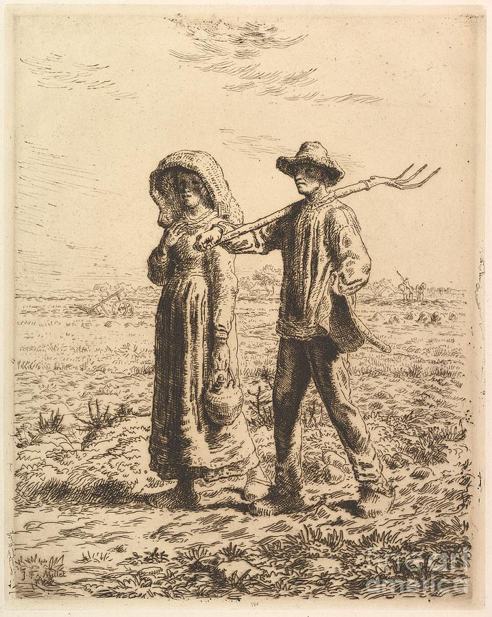 Jean-francois Millet Painting -  The Peasant Family by Celestial Images