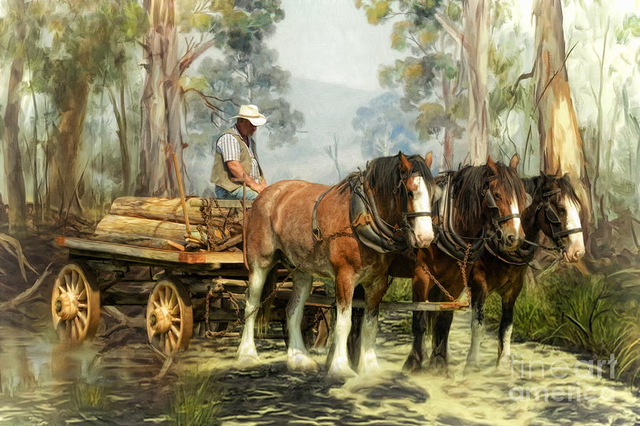 Clydesdale Digital Art -  The Timber Team by Trudi Simmonds