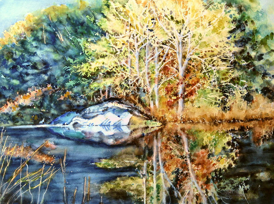 Trees Painting -  The Tree Across The Pond  by June Conte  Pryor