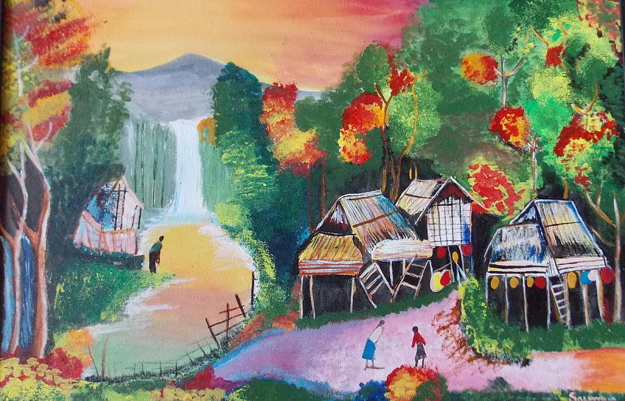 The Village Painting -  The Village by Saumya Saxena