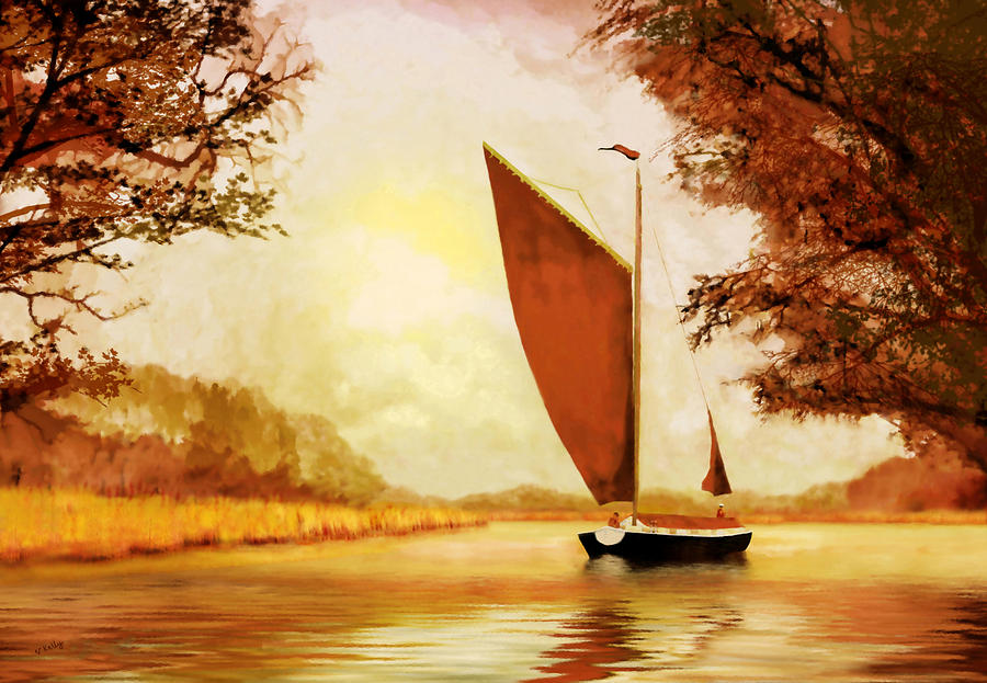 Landscape Painting -  The Wherry Albion by Valerie Anne Kelly