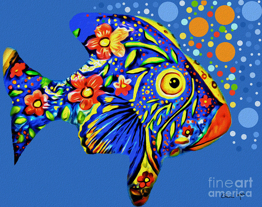 Abstract Digital Art -  Tropical Fish by Eleni Mac Synodinos