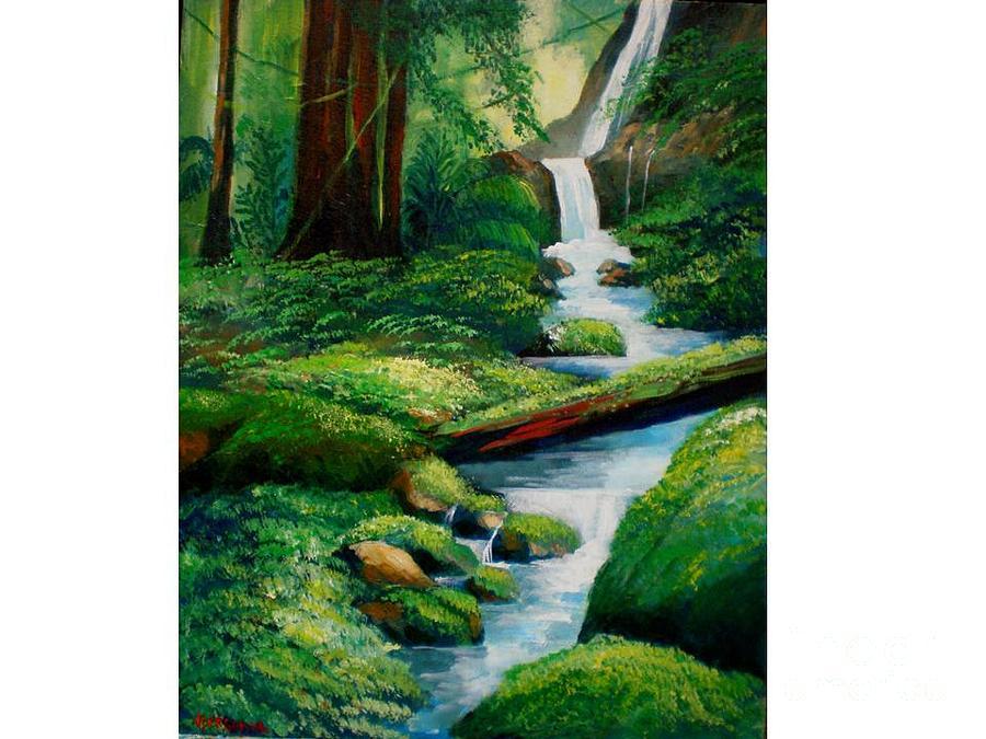 Waterfall Painting -  Tropical Waterfall by Jean Pierre Bergoeing