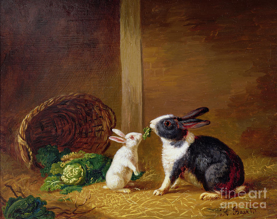 Two Painting -  Two Rabbits by H Baert