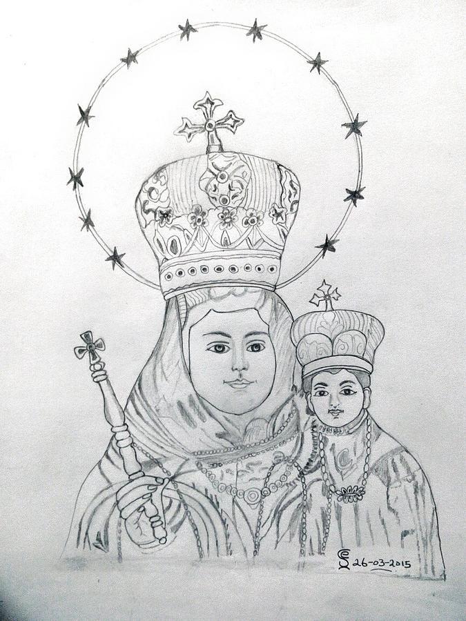 velankanni matha drawing by j elangovan