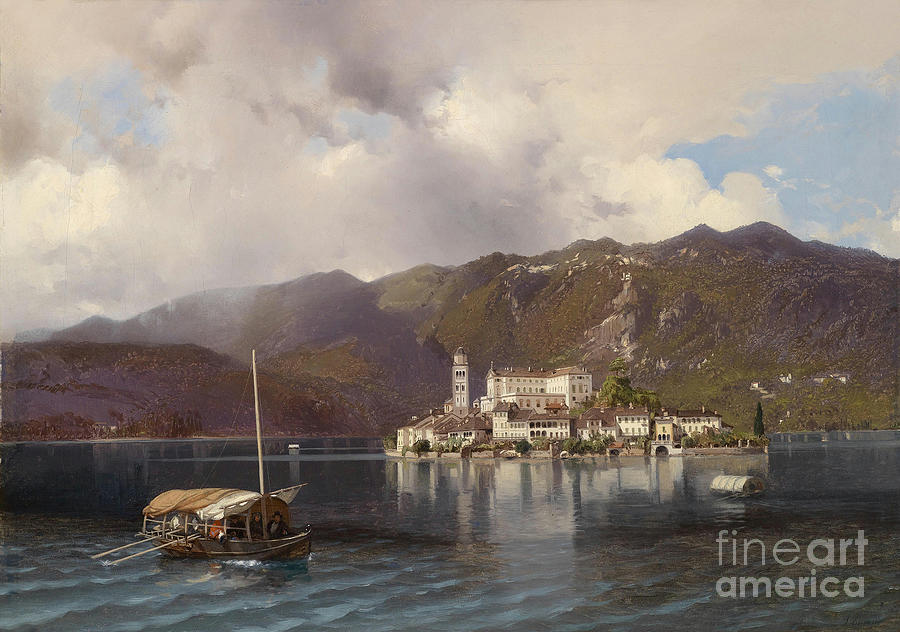 View Of Isola San Giulio In Lake Orta Painting by Celestial Images