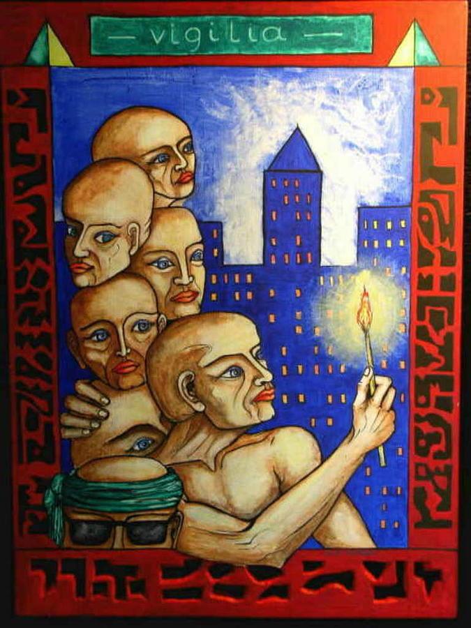 People Painting - - Vigilia - by Frajny Arkadius Boguslaw