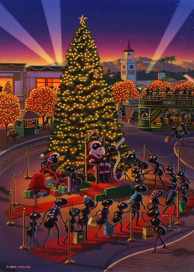 Ants Painting -  Visiting Santa Anta  by Robin Moline