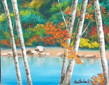 Painting Painting -  White Birch Lake by Stan  Sternbach