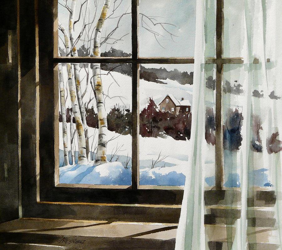 Window Painting -   Winter Window by Art Scholz