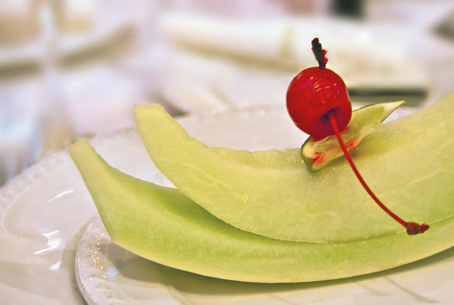 Cantaloupe Photograph - ... With A Cherry On Top by Evelina Kremsdorf