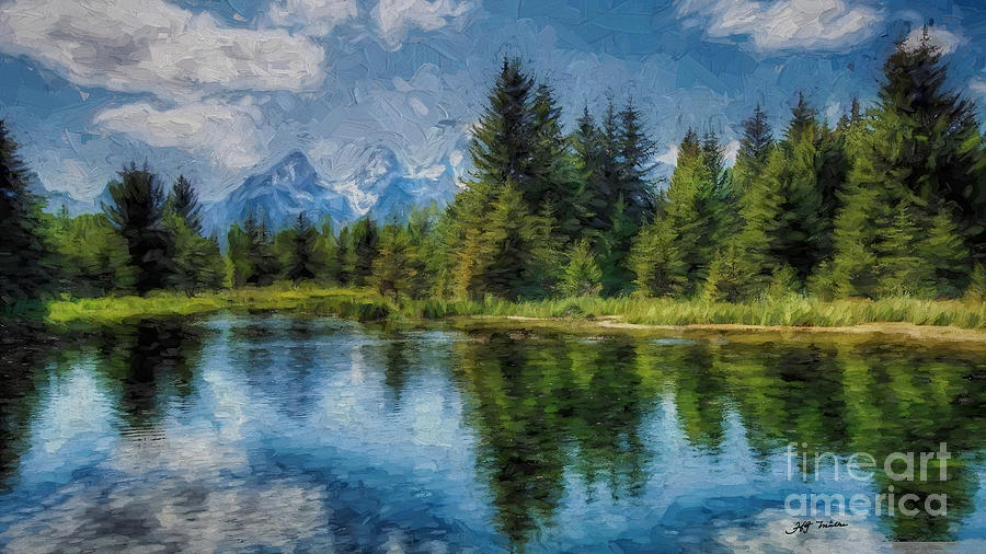 Wyoming Photograph -  Wyoming Tetons Spruce Mountain Lake. Oil Painting . by Heinz G Mielke