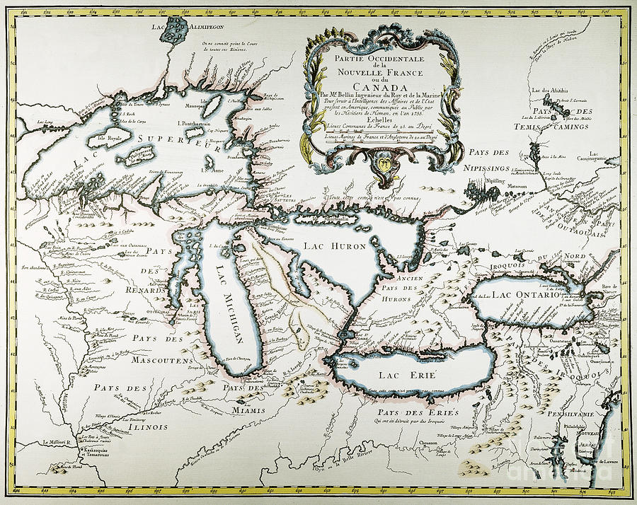America Painting - Great Lakes Map, 1755 by Granger