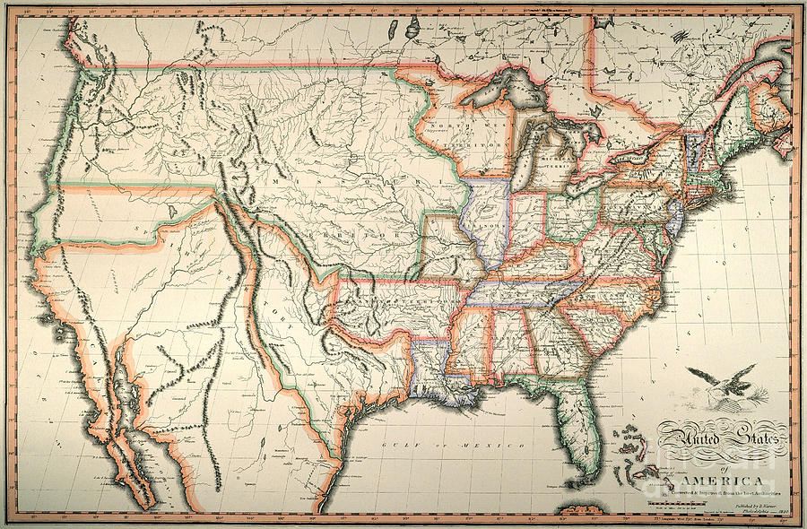 Map United States 1820 Painting By Granger - 1820-us-map