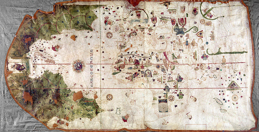 Nina World Map 1500 Painting by Granger