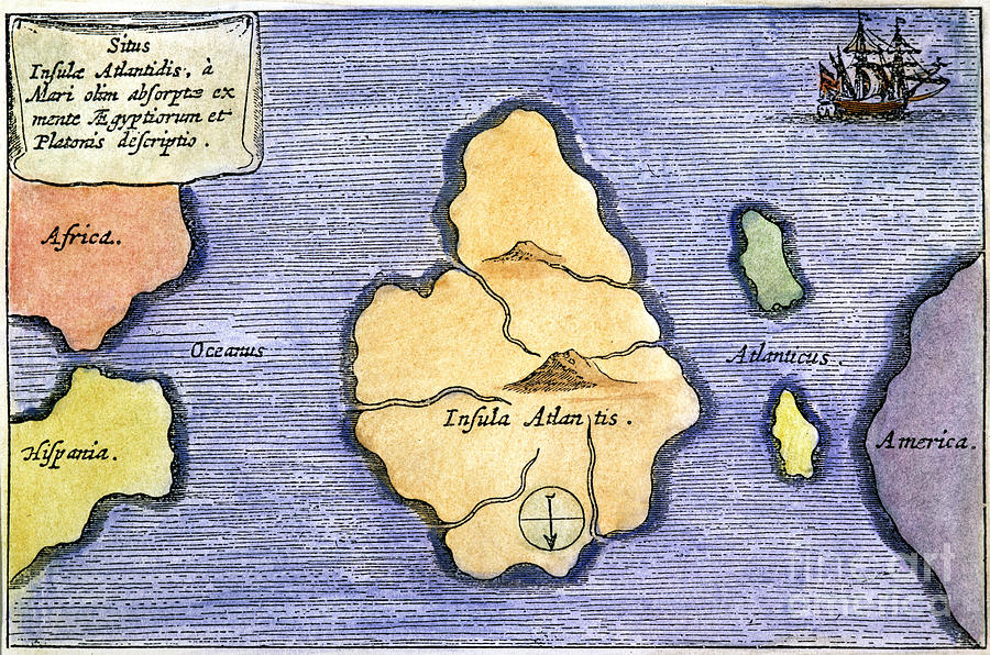 1678 Painting - Map Of Atlantis, 1678 by Granger