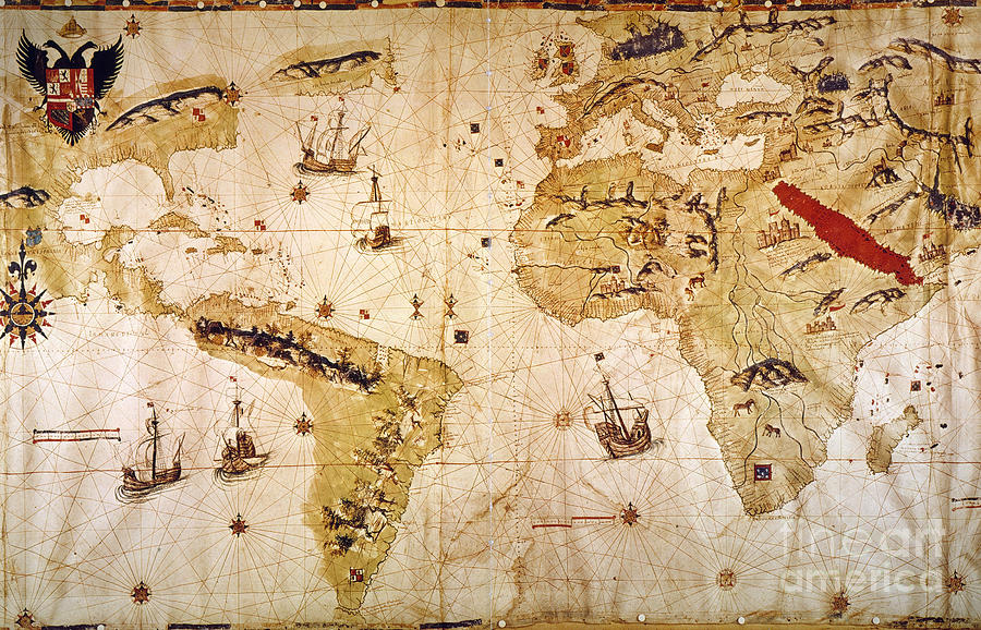 Age Of Discovery Painting - Vespuccis World Map, 1526 by Granger