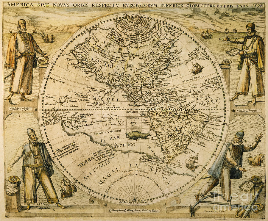 1596 Painting - W. Hemisphere Map, 1596 by Granger