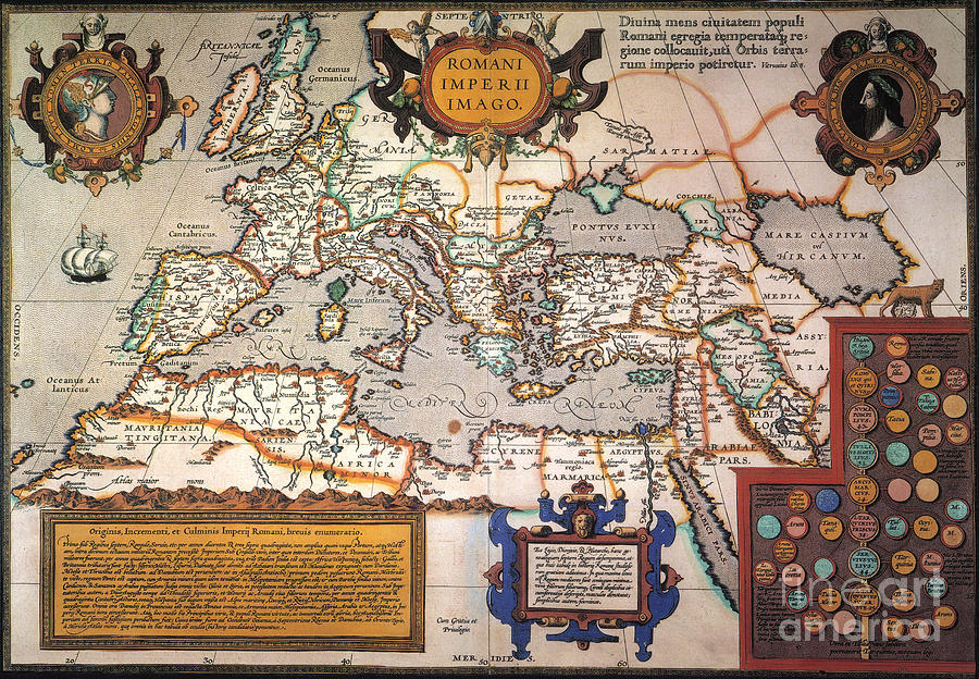 1595 Painting - Map Of The Roman Empire by Granger