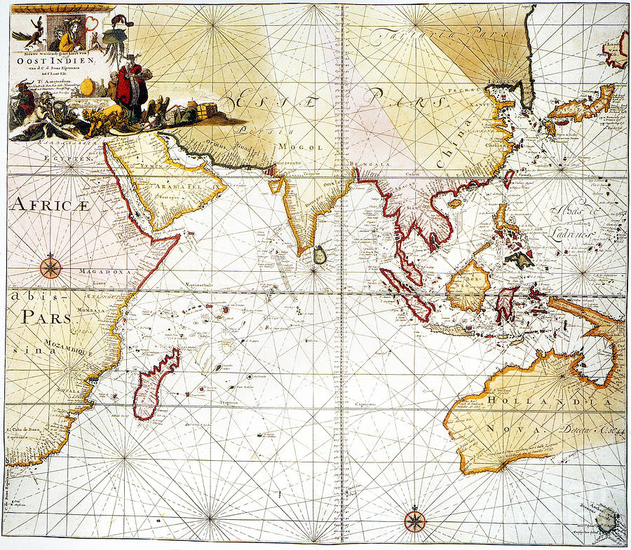 1705 Painting - Indian Ocean: Map, 1705 by Granger