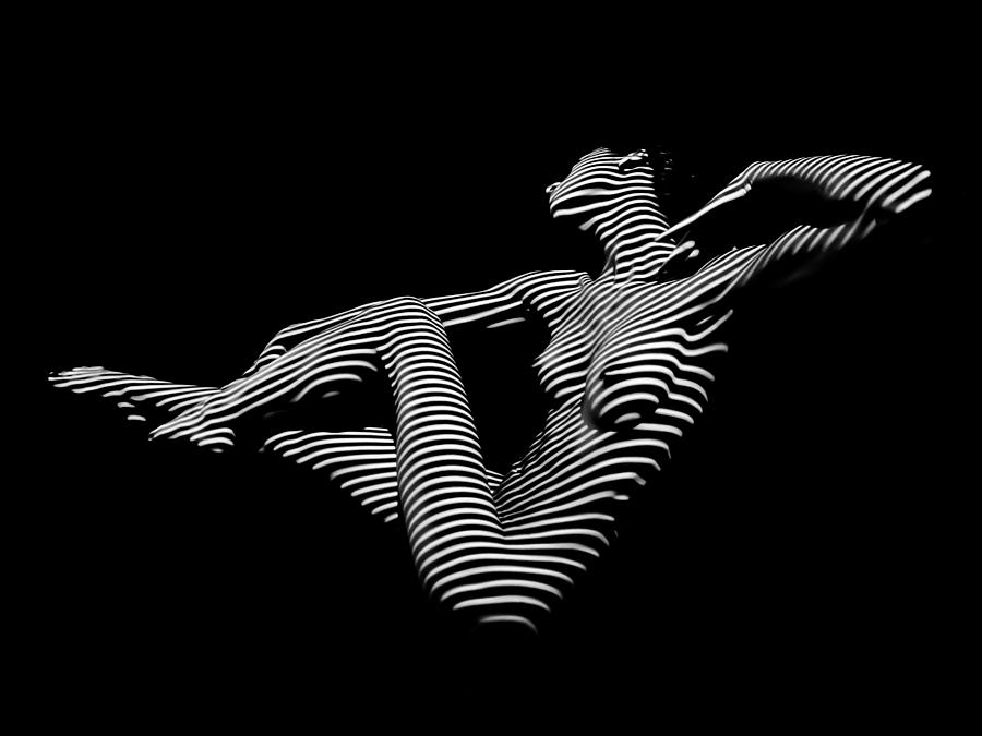 Woman photograph 0043 dja bw zebra woman striped girl topographic abstract sensual body art